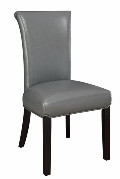 2 Homeroots Gray Vinyl Upholstered Brown Wood Dining Chairs with Curved Back OCN-310199