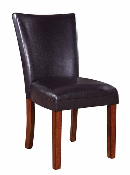 2 Homeroots Brown Leather Upholstered Wood Side Dining Chairs OCN-310201
