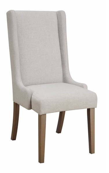 2 Homeroots Brown Wood Light Gray Fabric Upholstered Wingback Dining Chairs OCN-310221