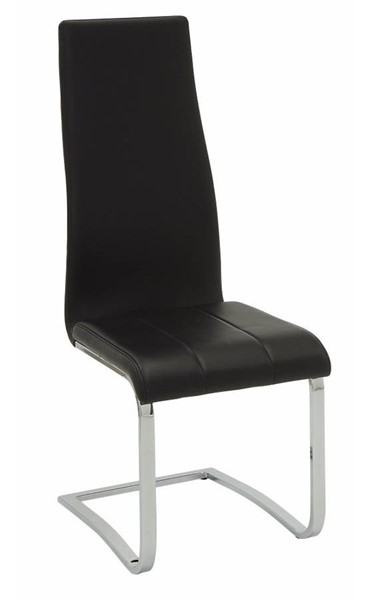 Homeroots Black Faux Leather Chrome Legs Dining Chairs OCN-310228-DR-CH-VAR