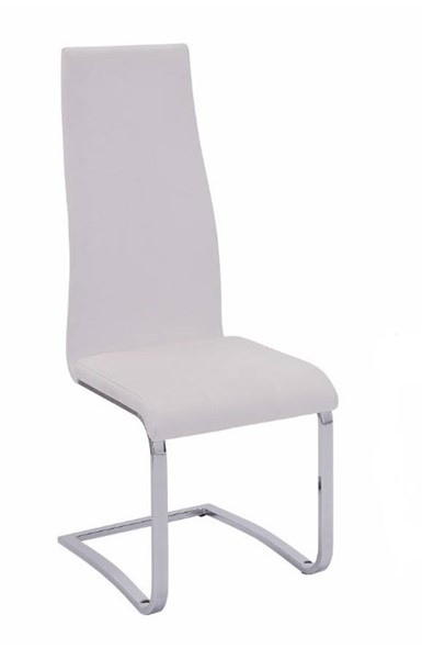 4 Homeroots White Faux Leather Chrome Legs Dining Chairs OCN-310229