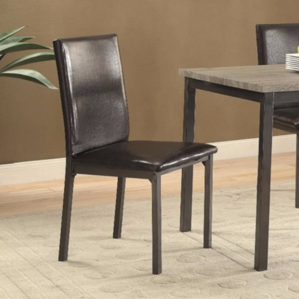 2 Homeroots Black Metal Upholstered Dining Chairs with Full Back OCN-310240