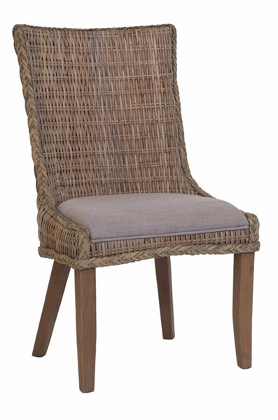 2 Homeroots Gray Woven Brown Wicker Wood Dining Chairs OCN-310254