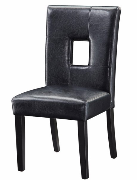 2 Homeroots Black Vinyl Upholstered Seat and Back Dining Side Chairs OCN-310310