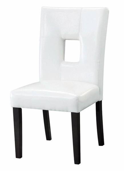 2 Homeroots White Vinyl Upholstered Seat and Back Dining Side Chairs OCN-310311