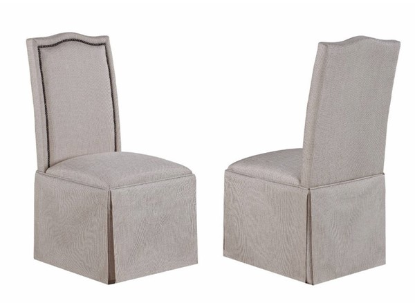 2 Homeroots Beige Fabric Charmed Side Chairs with Skirt OCN-310316