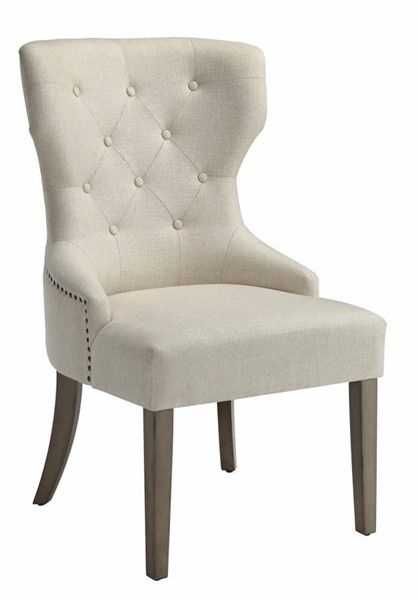 Homeroots Beige Rubberwood Button Tufted Dining Chairs OCN-310321