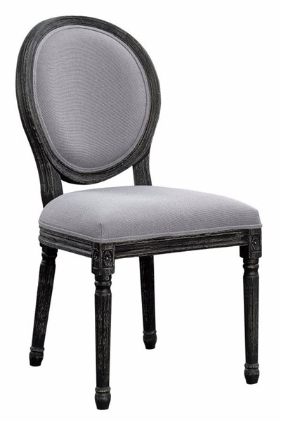 2 Homeroots Gray Fabric Upholstered Dining Chairs OCN-310348