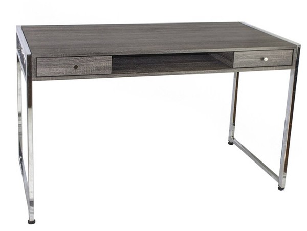 Homeroots Brown Wood Silver Chrome Writing Desk OCN-310359