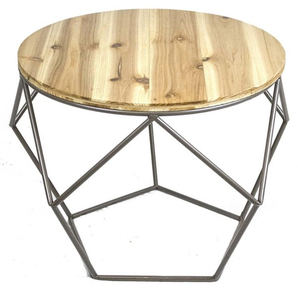 Homeroots Brown Wood Top Metal Geometrical Accent Table OCN-311973