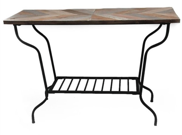 Homeroots Wood Top Metal Console Accent Table OCN-311978
