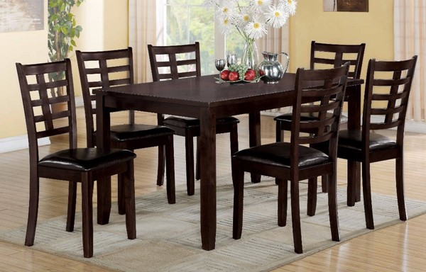 Homeroots Espresso PU Brown Solid Wood 7pc Dining Set with Ladder Back Chair OCN-313114
