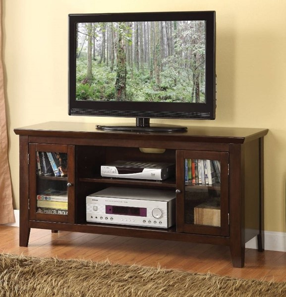 Homeroots Espresso Brown Wood Glass Doors TV Stand OCN-313138