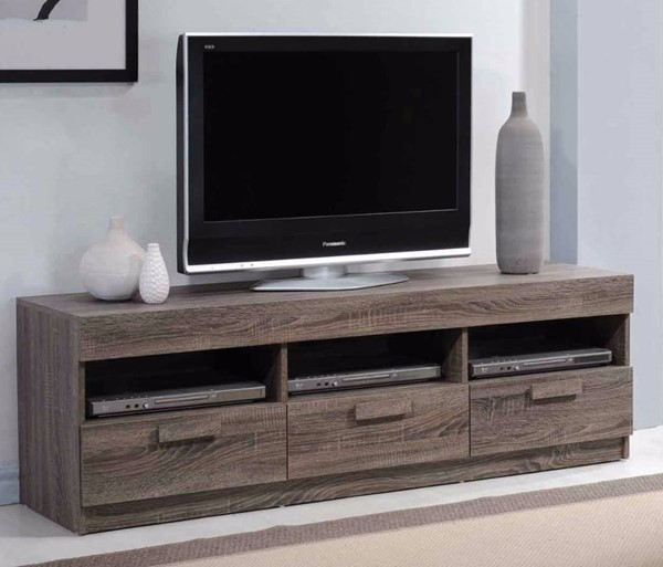 Homeroots Rustic Oak Brown MDF Amiable TV Stand OCN-313151
