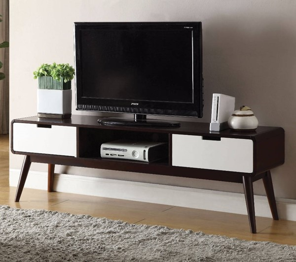 Homeroots Espresso White Solid Wood TV Stand OCN-313165