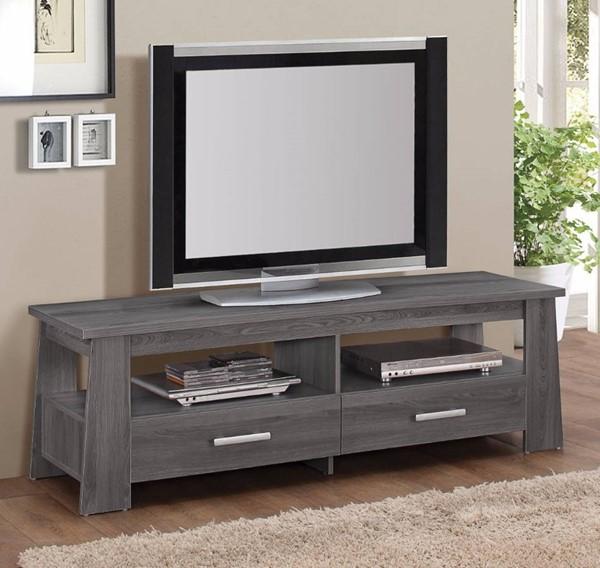 Homeroots Dark Gray Oak TV Stand OCN-313166