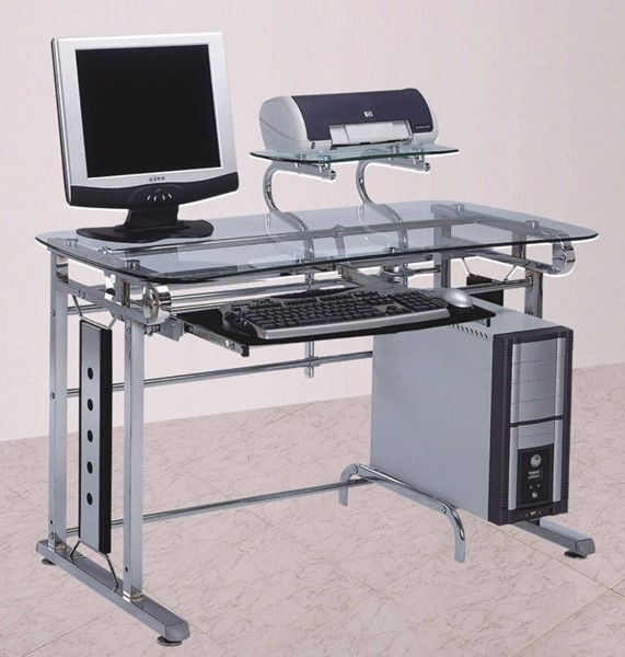 Homeroots Clear Glass Top Silver Metal Computer Desk OCN-313169