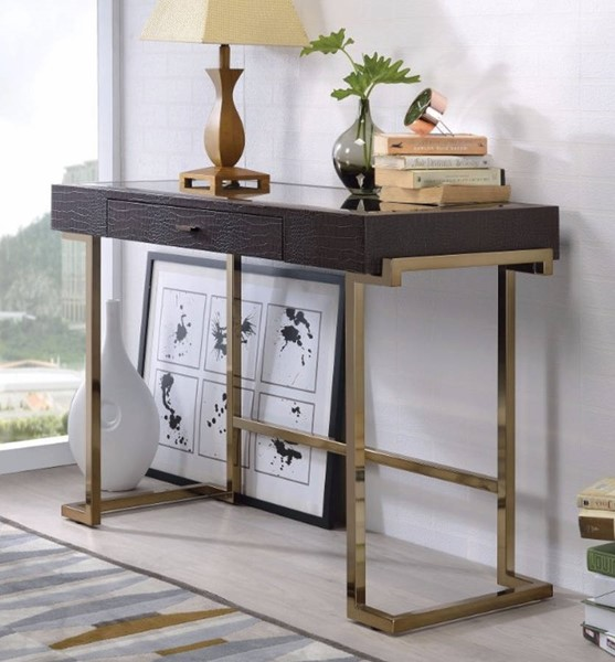 Homeroots Espresso Brown MDF Gold Metal Mirror Top Writing Desk OCN-313192