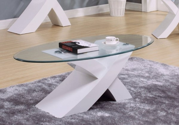 Homeroots White MDF Glass Top Pioneering Coffee Table OCN-313300
