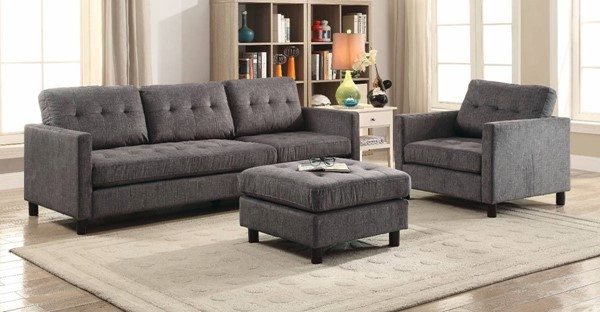 Homeroots Gray Fabric 3pc Sectional Sofa with Ottoman OCN-313355