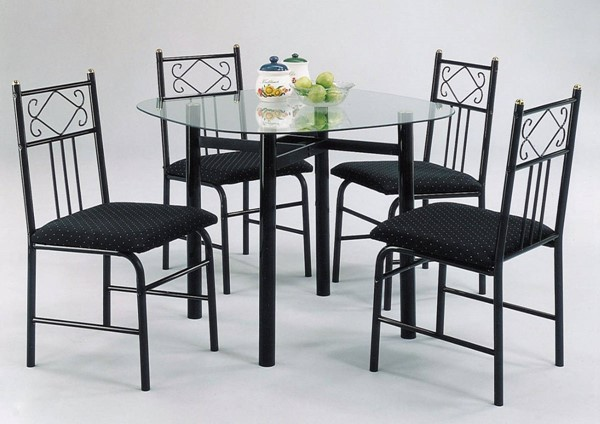 Homeroots Black Metal Clear Glass 5pc Dining Set OCN-313378