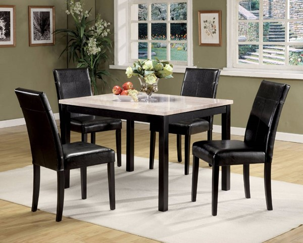 Homeroots White Faux Marble Black PU 5pc Dining Set OCN-313390