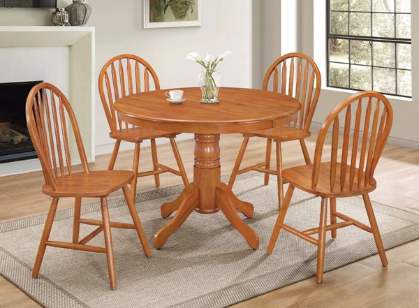 Homeroots Oak Brown Natural Wood 5pc Dining Set OCN-313392