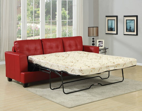HomeRoots Red Bonded Leather Platinum Queen Sofa Sleeper OCN-313450