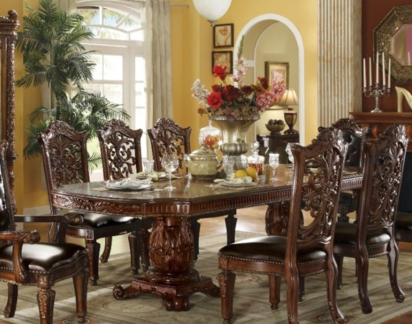 Homeroots Cherry Wood Double Pedestal Dining Table OCN-313459