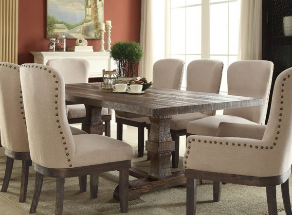 Homeroots Salvage Brown Pine Wood Dining Table OCN-313466