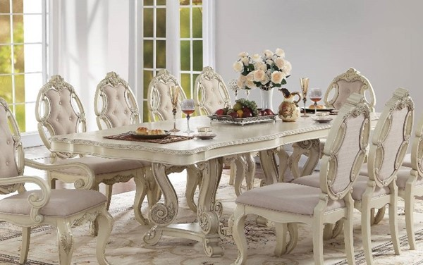 Homeroots Antique White Double Pedestal Dining Table OCN-313473