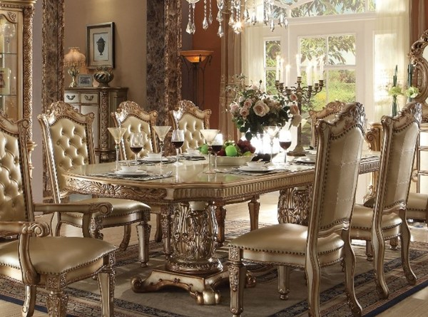 Homeroots Gold Wood Double Pedestal Dining Table OCN-313477