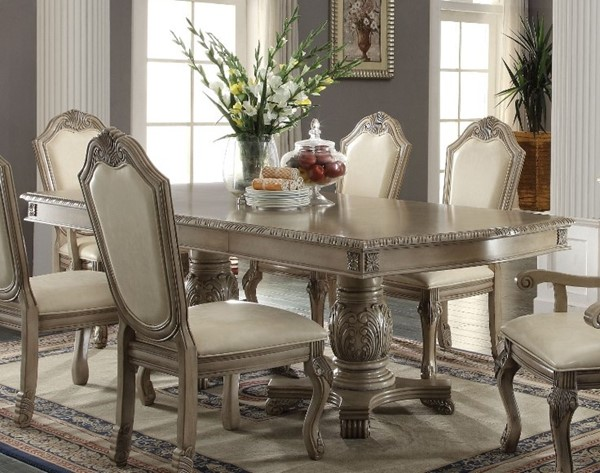 Homeroots Antique White Wood Double Pedestal Dining Table OCN-313480