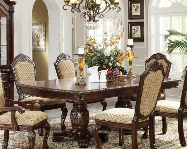 Homeroots Espresso Brown Wood Double Pedestal Dining Table OCN-313481