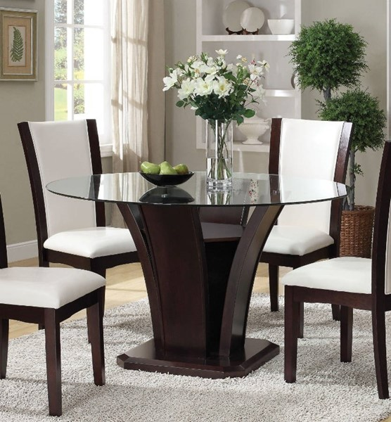 Homeroots Espresso Brown Wood Glass Top Pedestal Dining Table OCN-313487
