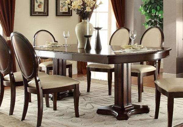 Homeroots Cherry Wood Double Pedestal Oval Dining Table OCN-313495