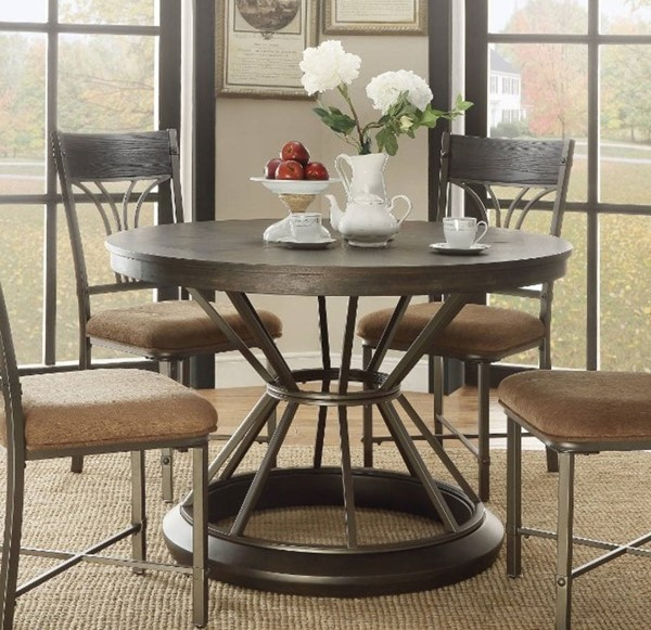 Homeroots Antique Black Drum Dining Table OCN-313502