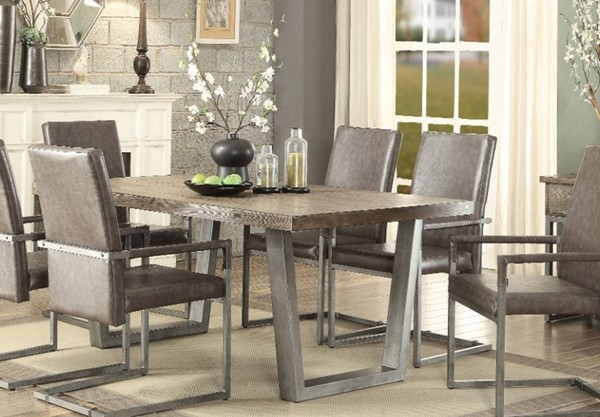 Homeroots Pine Wood Gray Metal Dining Table OCN-313504