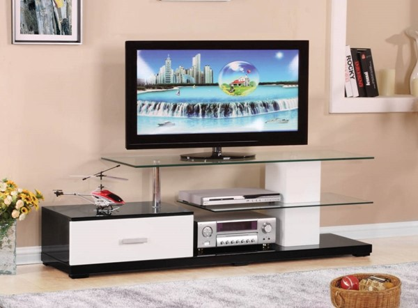 Homeroots White Black MDF Glass Top TV Stand OCN-313510