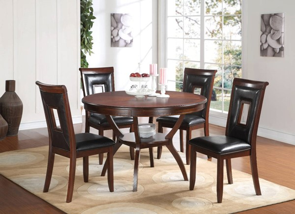 Homeroots Black Leather Cherry Brown Wood 5pc Dining Set OCN-313558