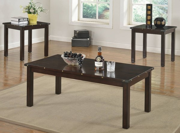 Homeroots Espresso Brown 3pc Coffee Table Set OCN-313579