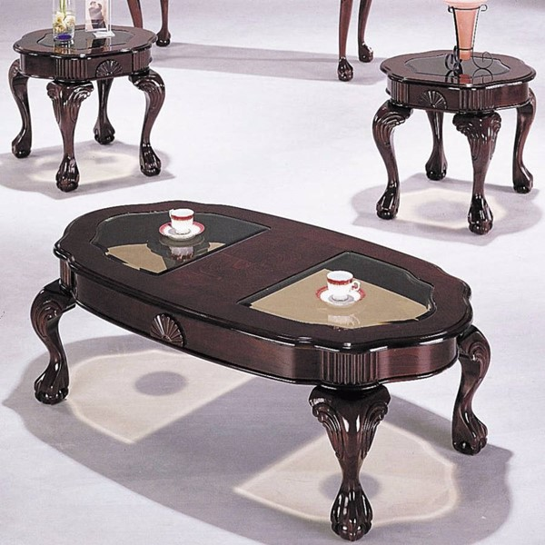 Homeroots Cherry Wood Glass Top 3pc Coffee Table Set OCN-313590