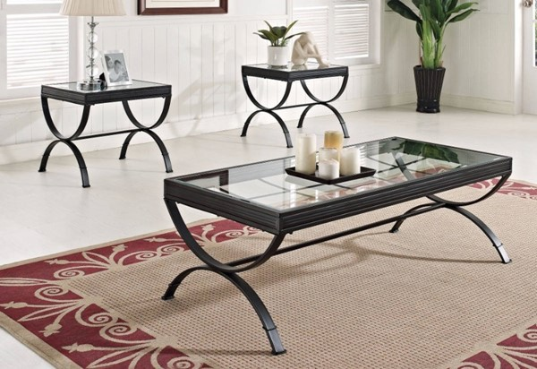 Homeroots Black Metal Clear Glass Top 3pc Coffee Table Set OCN-313610