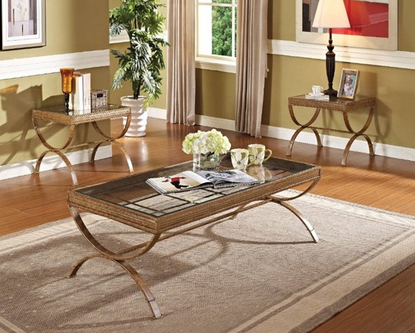 Homeroots Gold Metal Clear Glass Top 3pc Coffee Table Set OCN-313611
