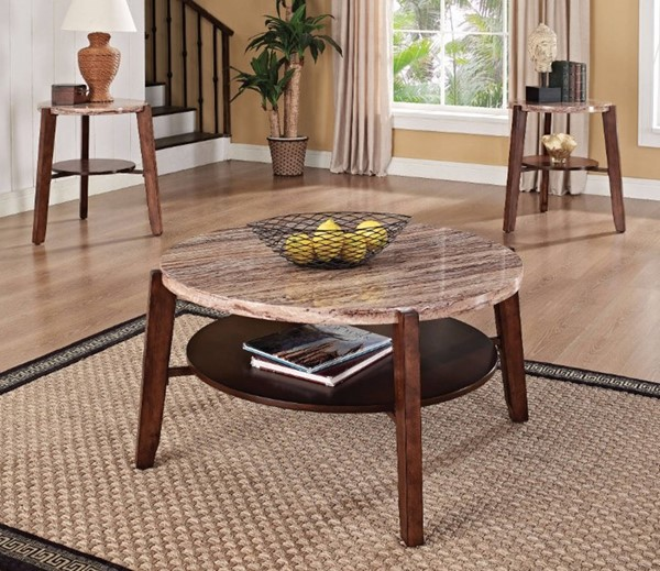 Homeroots Brown Solid Wood Faux Marble Top 3pc Coffee Table Set OCN-313612