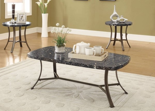 Homeroots Black Faux Marble Top 3pc Coffee Table Set OCN-313615