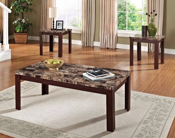 Homeroots Light Brown Marble Cherry MDF 3pc Coffee Table Sets OCN-313616-OCT-S-VAR