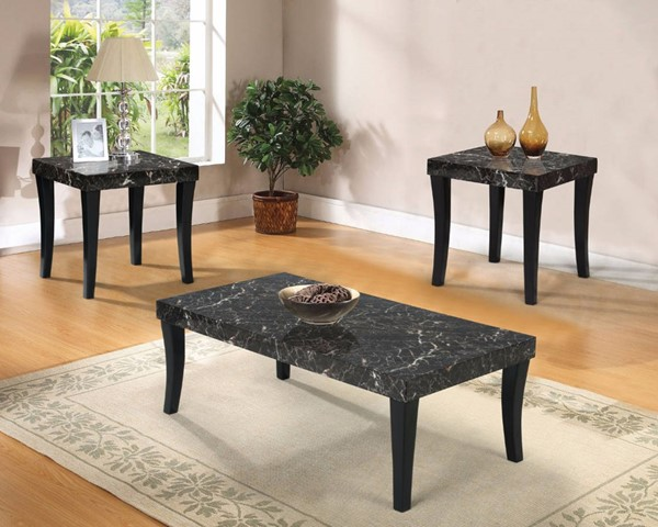 Homeroots Black Faux Marble Top Rectangle 3pc Coffee Table Set OCN-313618