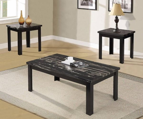 Homeroots Black Faux Marble Glass Top 3pc Coffee Table Set OCN-313621