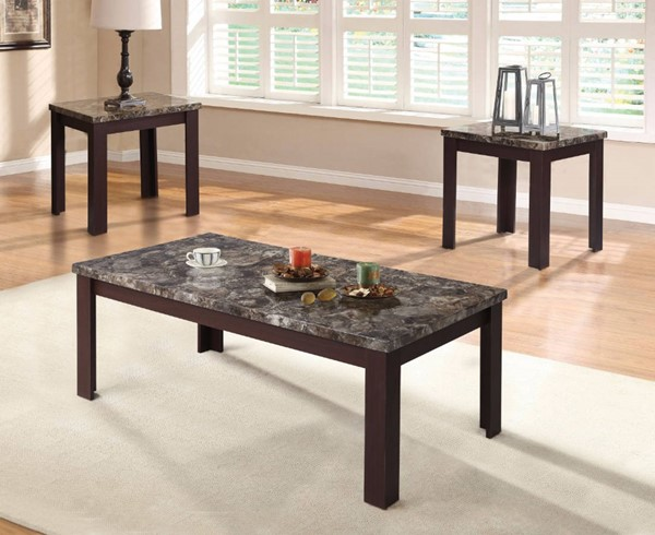 Homeroots Cherry Brown MDF Faux Marble Top 3pc Coffee Table Set OCN-313625